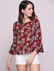 Short Floral Red Blouse