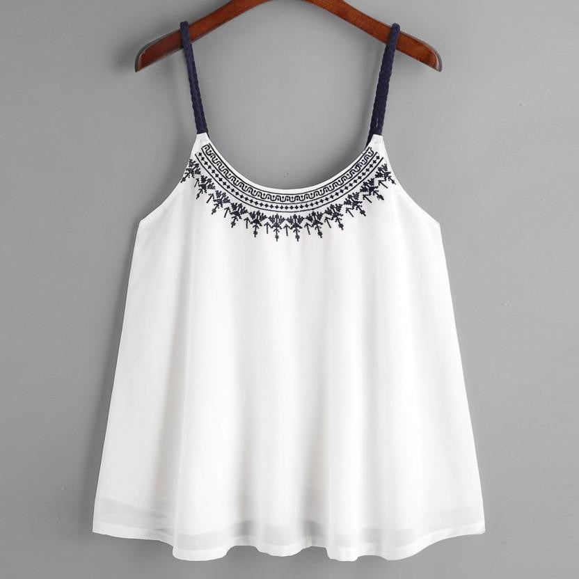 Flower Embroidered Chiffon blended Crop Top