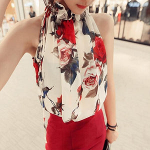 High Ruffle Neck Floral Blouse