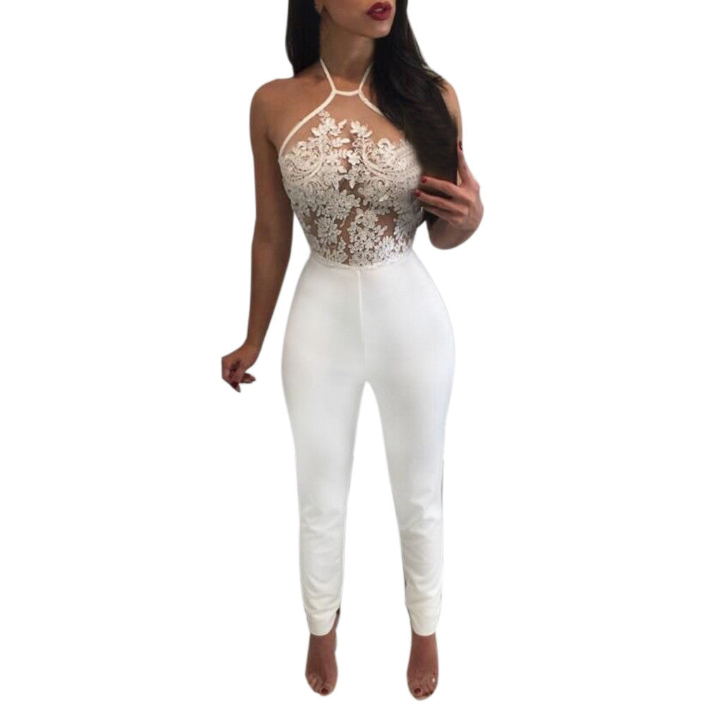 Lace Slim Fit Sexy Sleeveless Jumpsuit