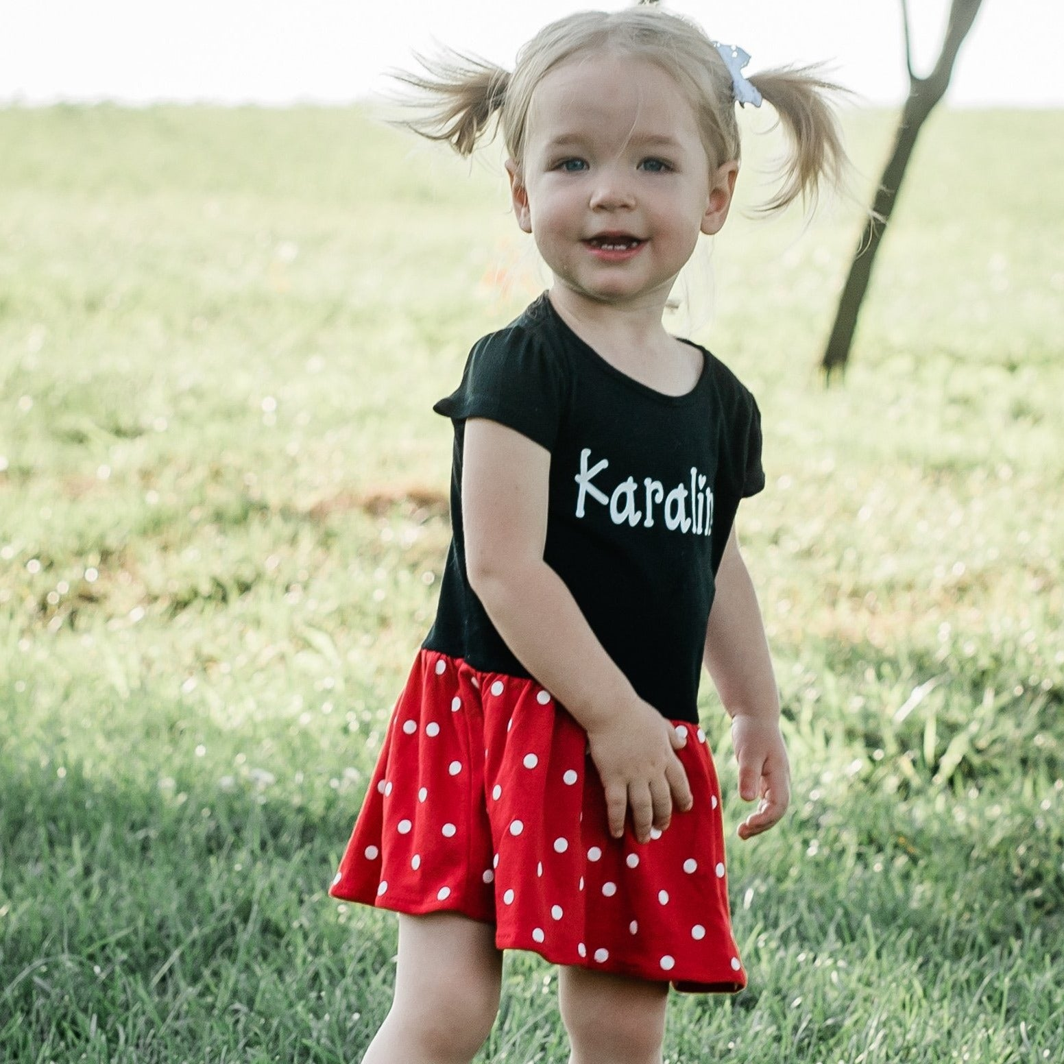 Personalized Polka Dot Infant Toddler Dress