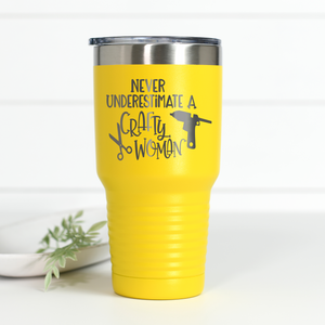 Never Underestimate A Crafty Woman 30 oz Engraved Tumbler