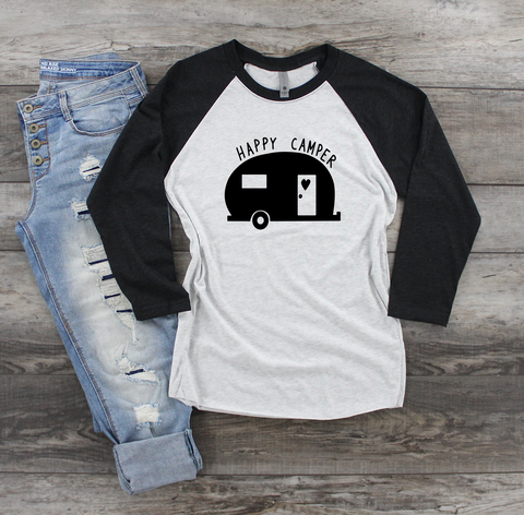 Happy Camper Raglan Tee