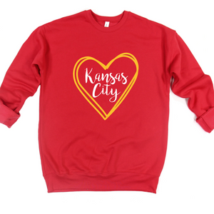 Kansas City Yellow Heart Crew or Hoodie Sweatshirt