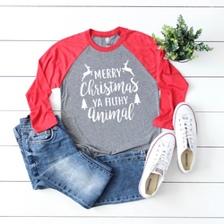 Merry Christmas Ya Filthy Animal Raglan Tee