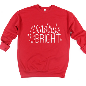 Merry and Bright Crew or Hoodie Sweatshirt