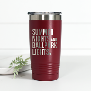 Summer Nights Ballpark Lights 20 oz Engraved Tumbler