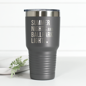 Summer Nights Ballpark Lights 30 oz Engraved Tumbler