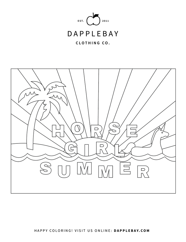 horse girl summer coloring page