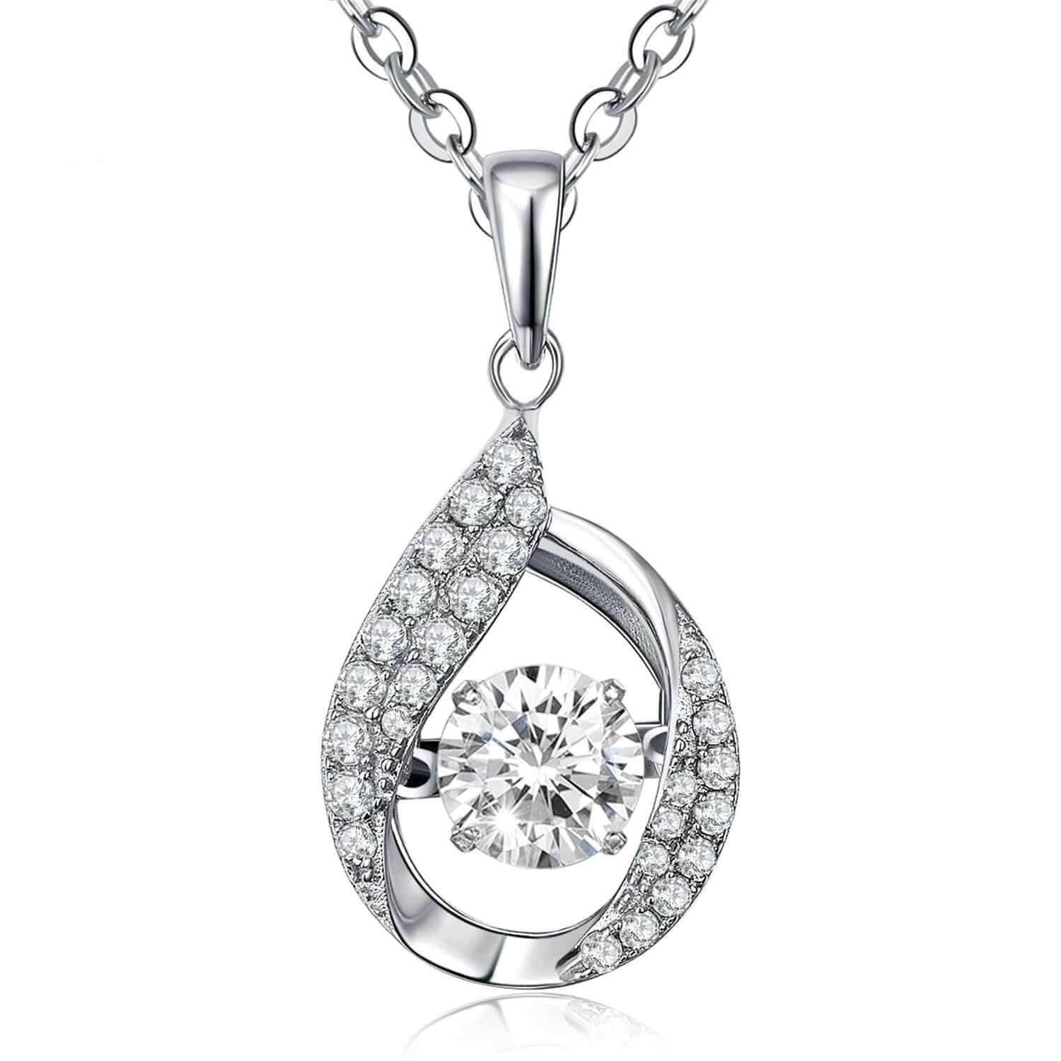 pear amp cz with fashion twisted quot dancing a diamond teardrop pendant pendants halo silver sterling nana