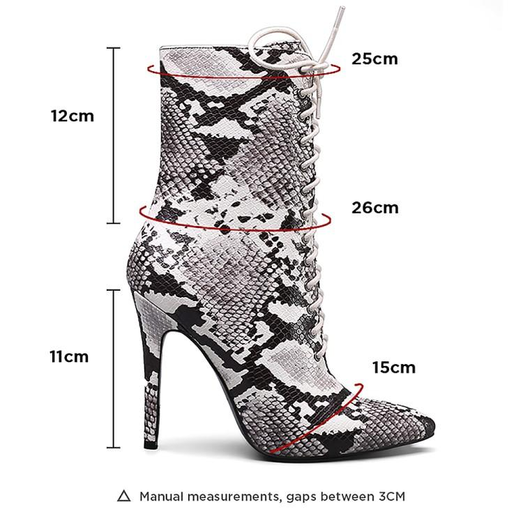 OHICHIIC SNAKE PRINT ANKLE LACE UP BOOTS