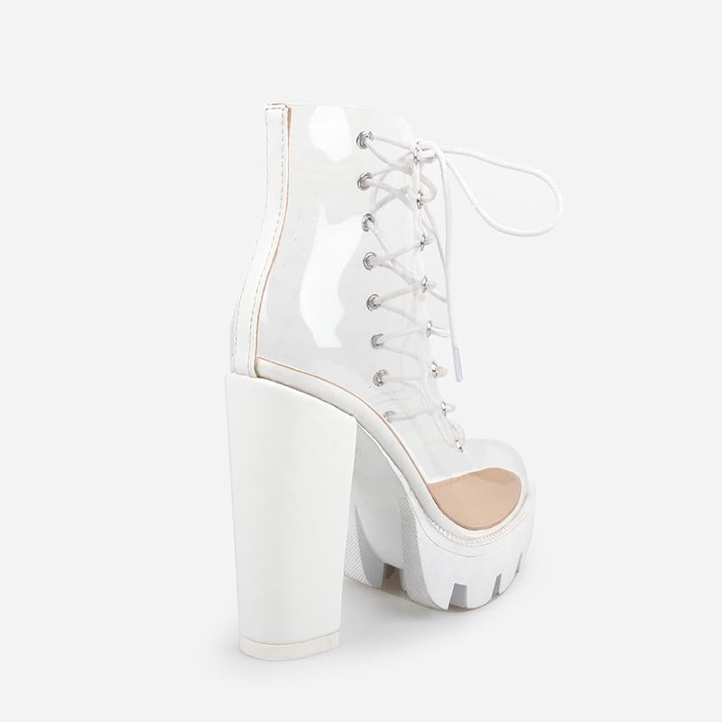 LUCY WHITE CLEAR LACE UP PLATFORM ANKLE BOOTS