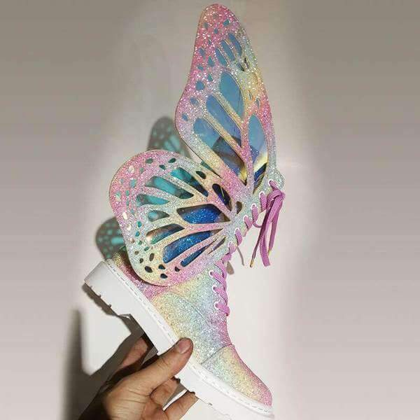 PHANTOM COLORFUL BUTTERFLY WINGS STRAP BOOTS