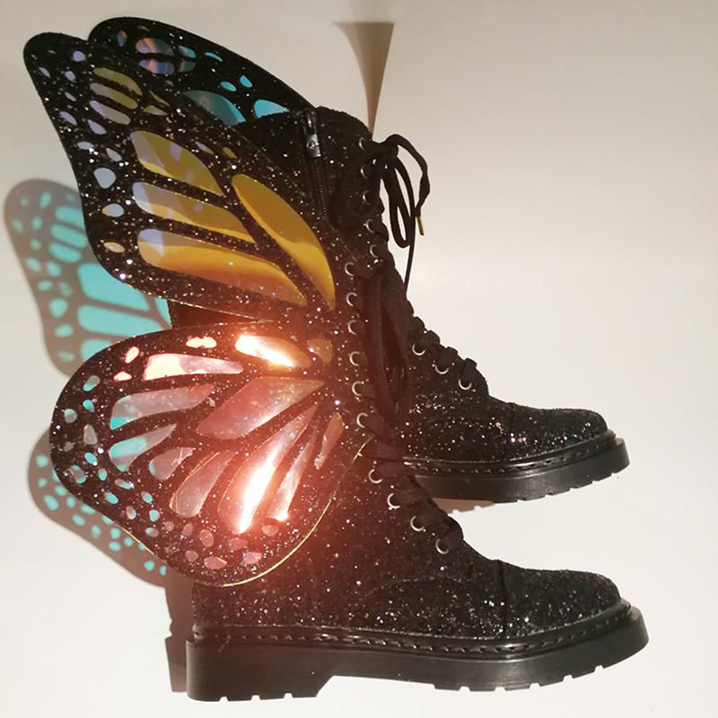 BOTTES À SANGLES PHANTOM BLACK WUTTERFLY WINGS