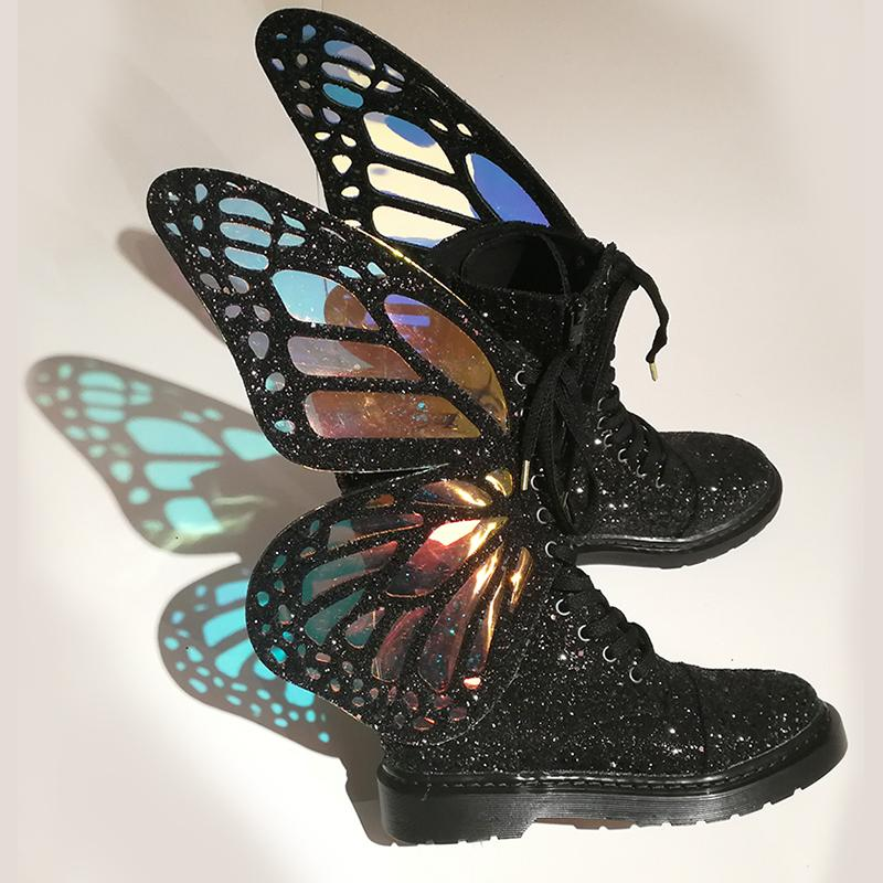 PHANTOM BLACK BUTTERFLY WINGS STRAP BOOTS