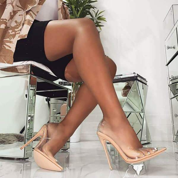 Clear PVC Sandals Perspex Heel Stilettos High Heels 11CM/4.33 INCH