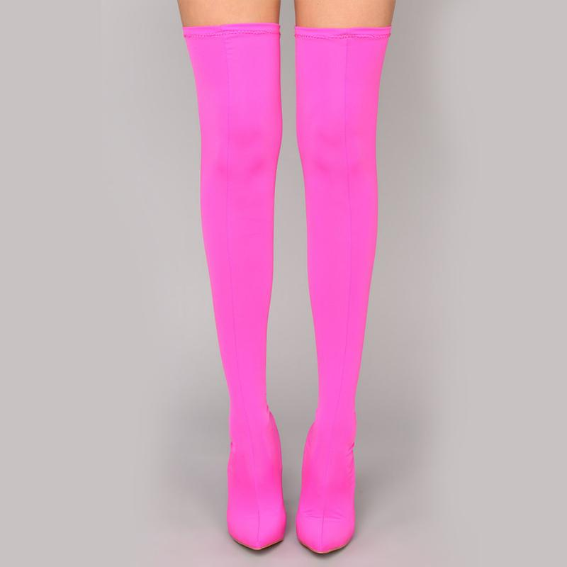 TAMSIN  LYCRA STILETTO THIGH HIGH BOOTS