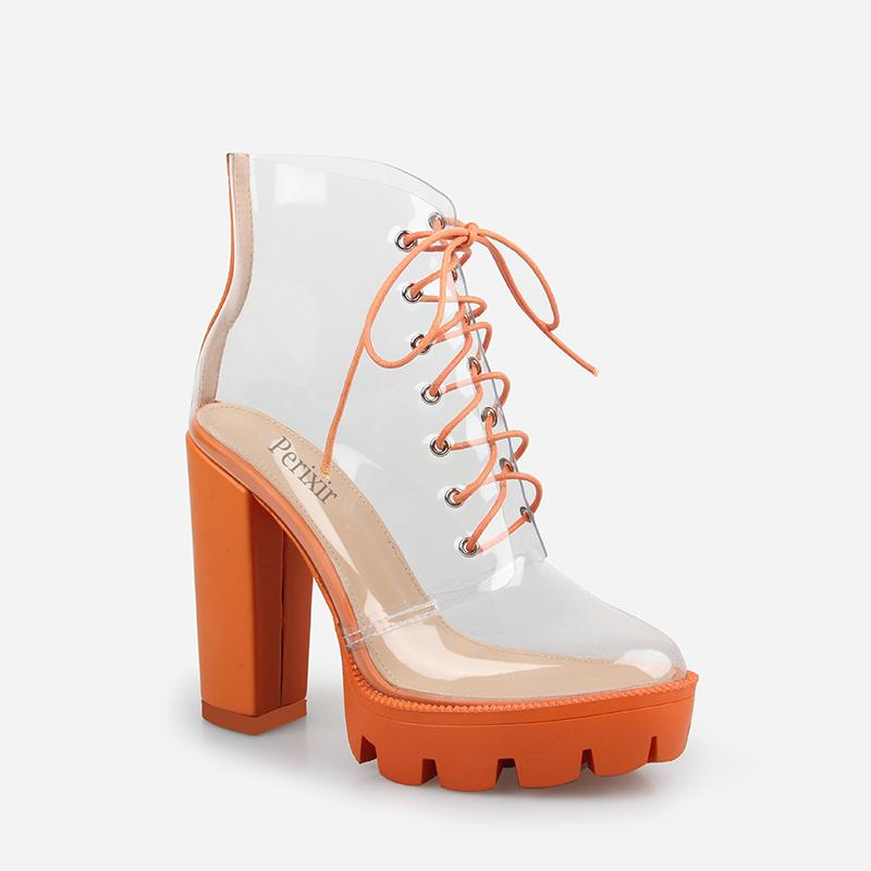 LUCY ORANGE CLEAR LACE UP PLATFORM ANKLE BOOTS