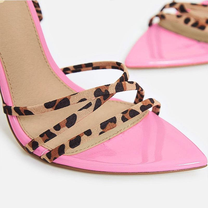 TAI PINK LEOPARD AND ZEBRA STRAPPY HEELS