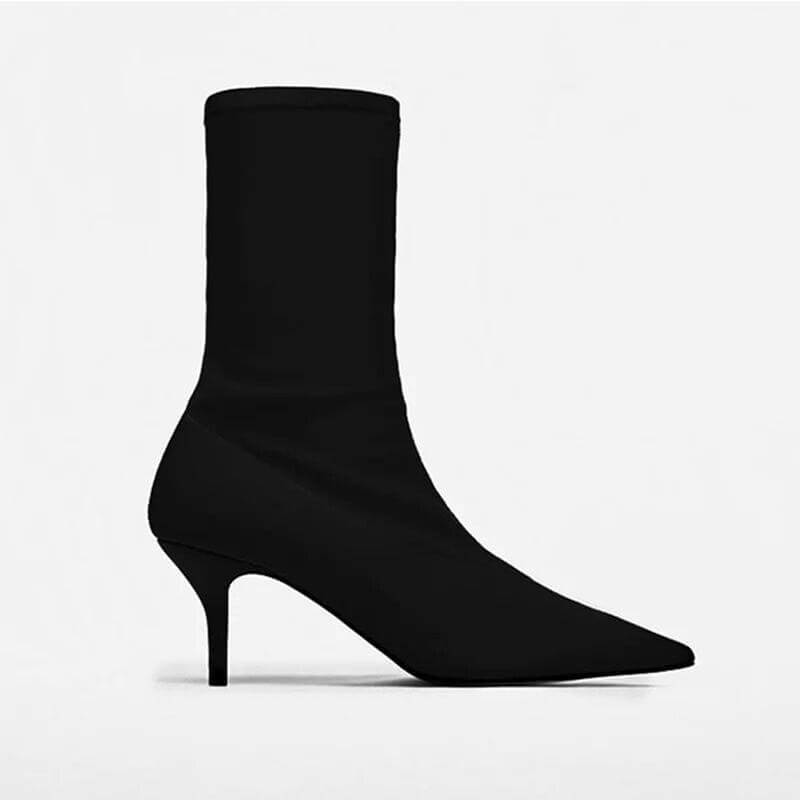 FASHION STRETCH FABRIC POINTED TOE ANKLE BOOTS