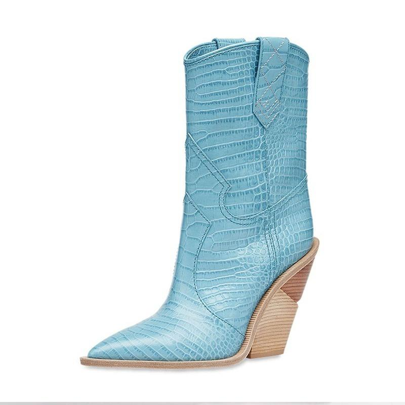 NEW COWBOY BLUE CHUNKY WEDGES BOOTS