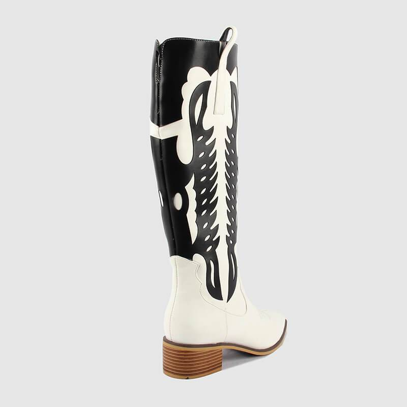 Women Square Heels PU Leather Mid-calf Boots