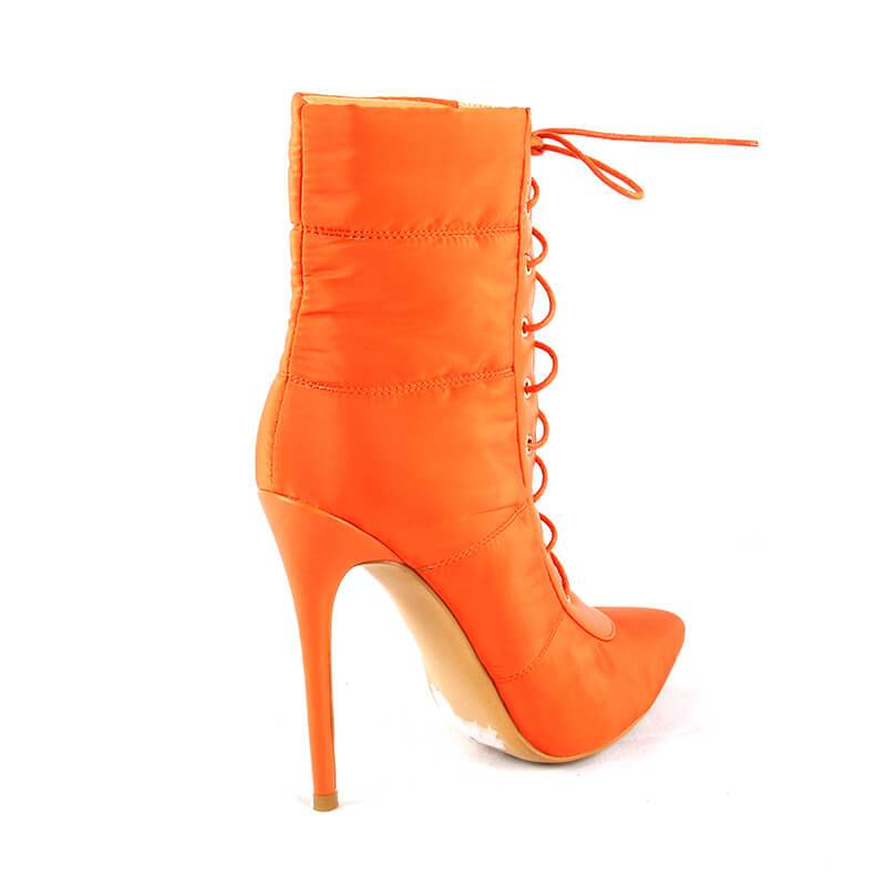 Down Warm Snow Orange Lace-Up Boots