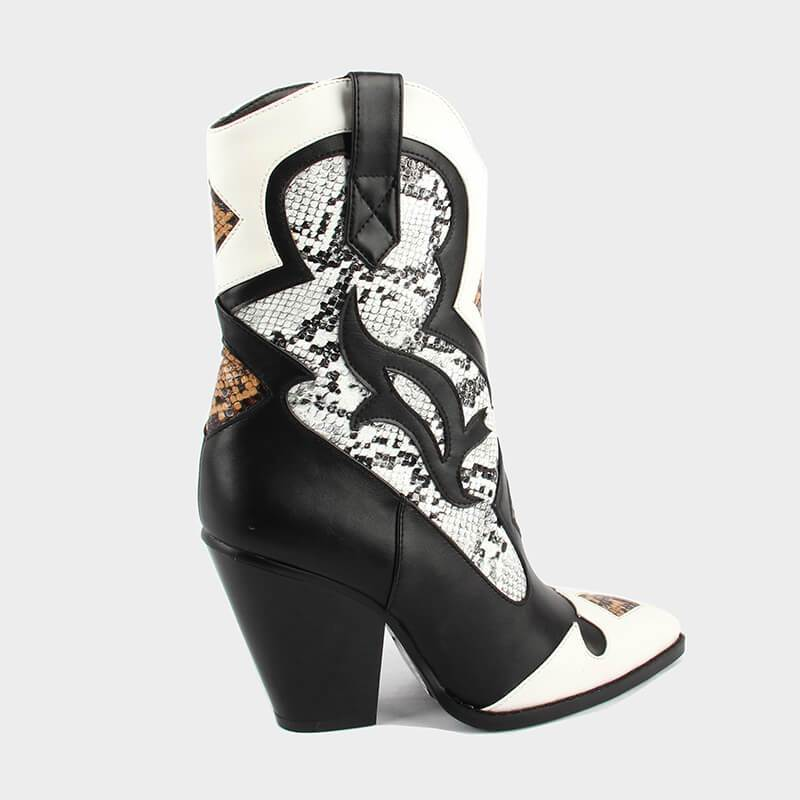 Retro PU Cowboy Leather Ankle Boots Low Heel