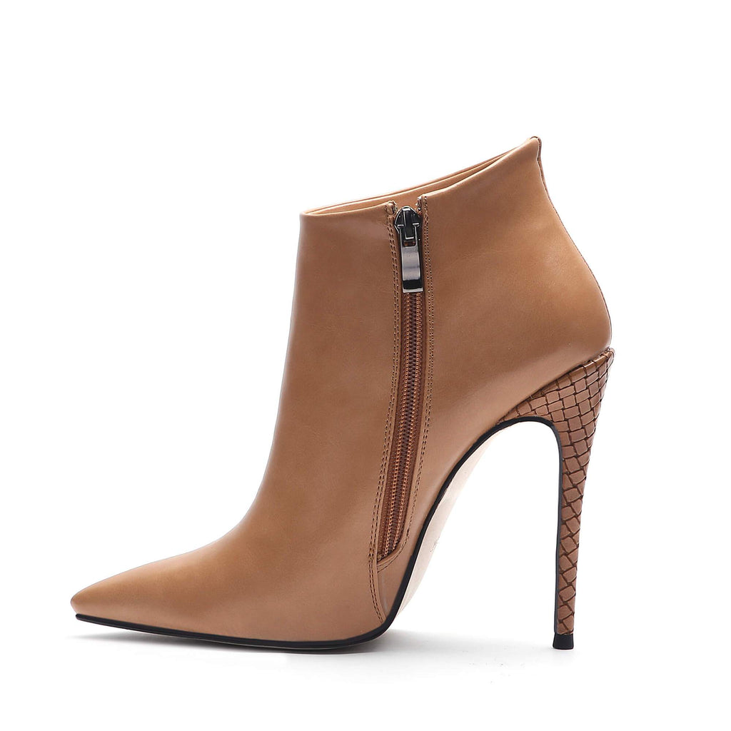 Ohichiic Tate Wide Fit Brown Geniue Leather Pointed Toe Ankle Boots