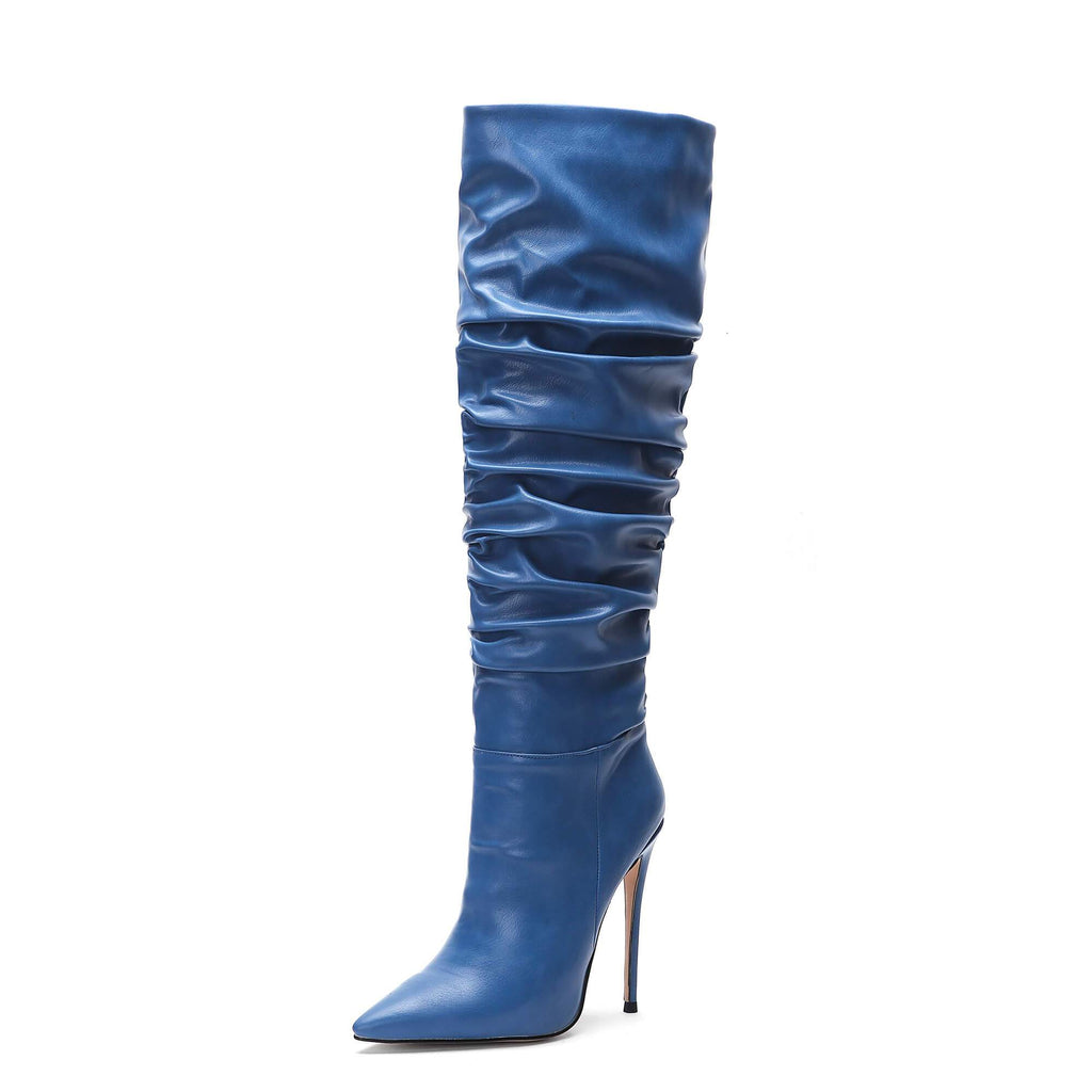 Pleated Slouch New Aaarival Blue Knee High Boots