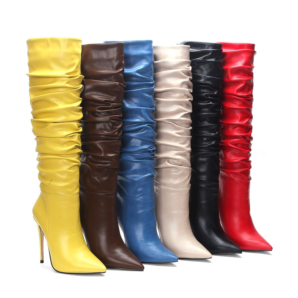Pleated Slouch New Aaarival Yellow Knee High Boots