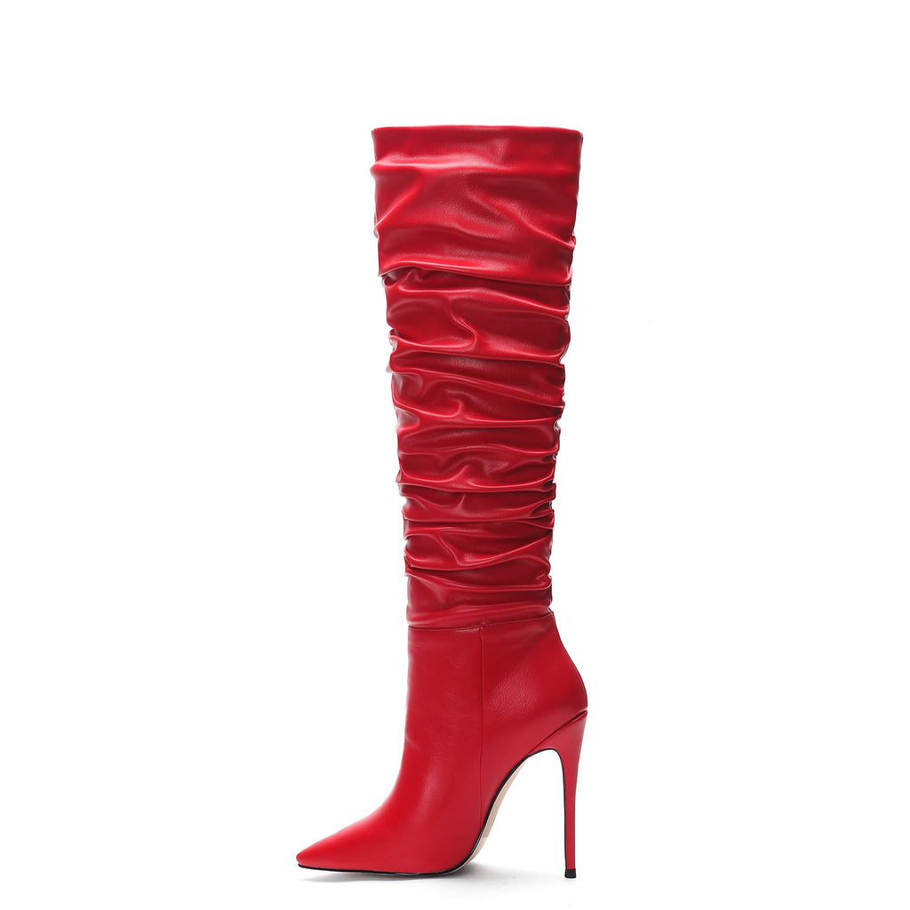 Pleated Slouch New Aaarival Red Knee High Boots