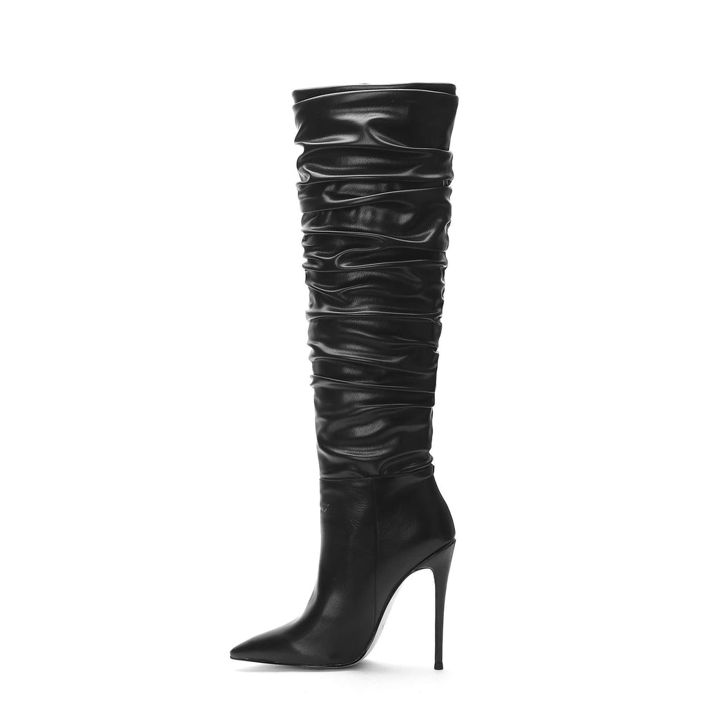 Pleated Slouch New Aaarival Black Knee High Boots
