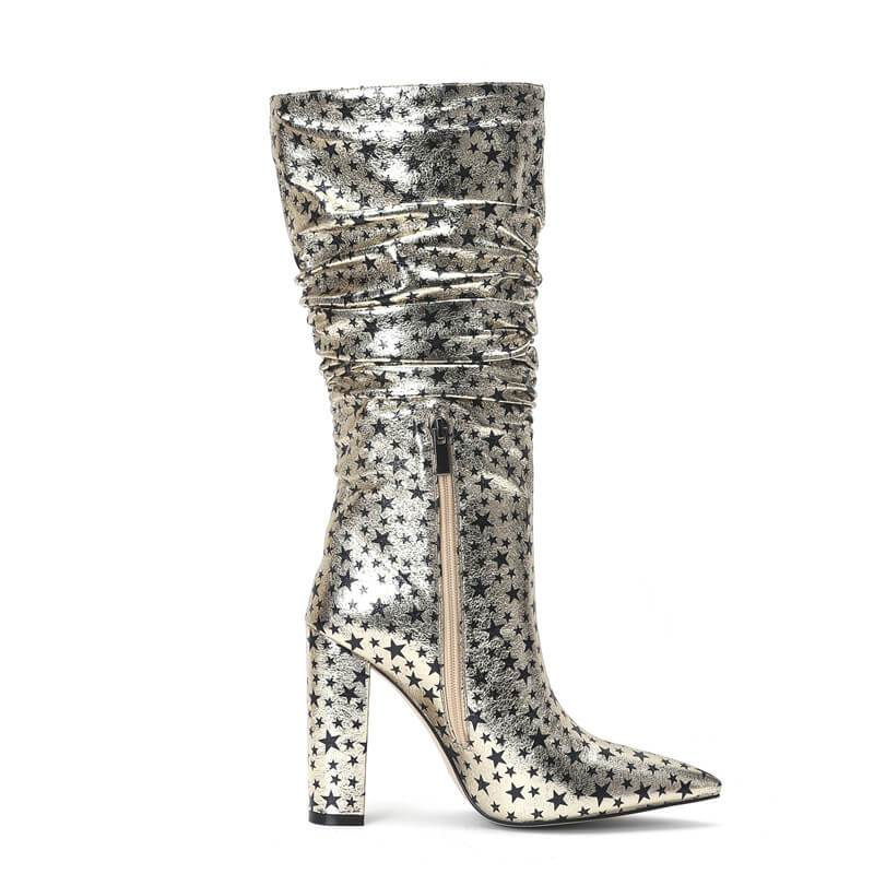 Women Square Heels Gold Stars Leather Mid-calf Boots