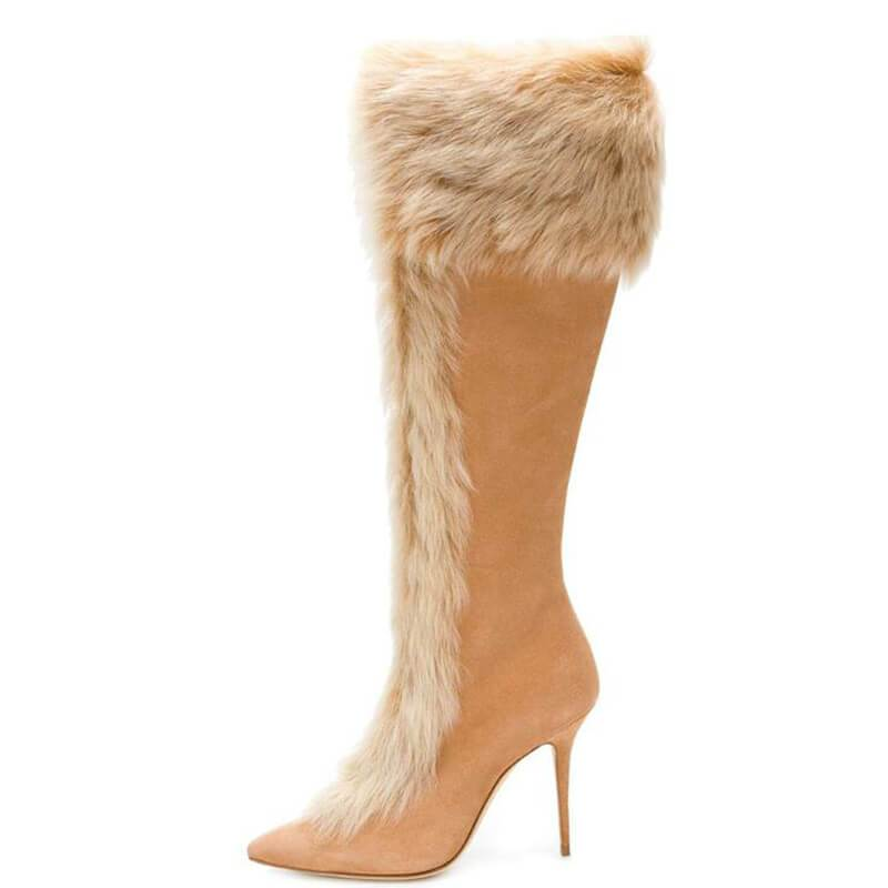 RABBIT FUR POINTED THICK HEEL HIGH BOOTS