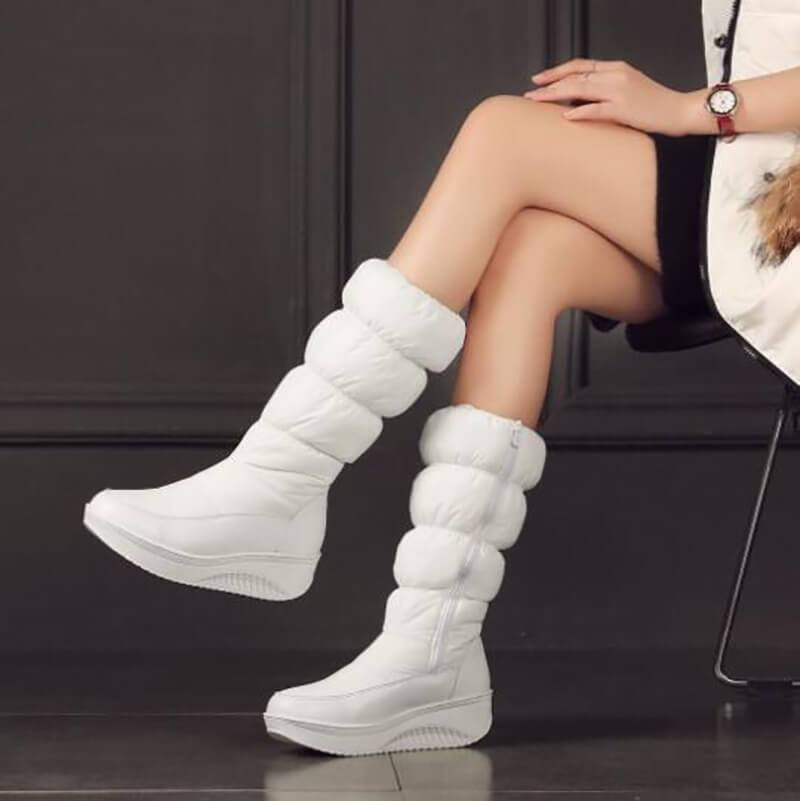 ZIPPER DOWN SNOW MID-CALF ANKLE BOOTS