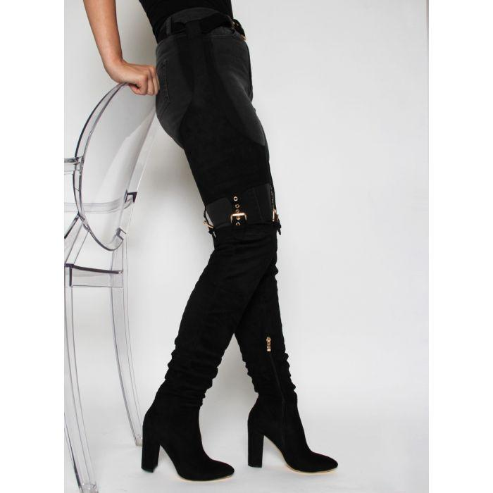 NICKI BLACK SUEDE BELT THIGH HIGH BOOTS