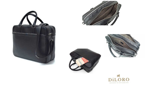 DiLoro Italian Leather Briefcase Double Zippered Compartments, Removable Shoulder Strap
