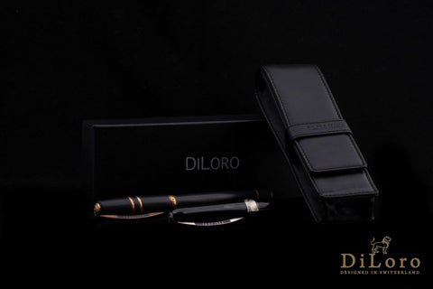 DiLoro Leather Pen Case - The Classic Black Double Pen Holder