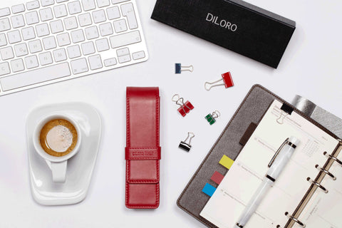 DiLoro Leather Pen Holder in Red - Holds Two of your favorite Pens or Pencils