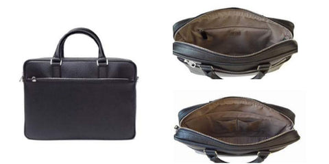 DiLoro Italian Leather Briefcase - Black (Inside View)
