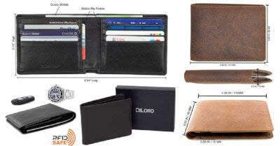 DiLoro Men's Leather Wallets Dimensions you should know before making a purchase.