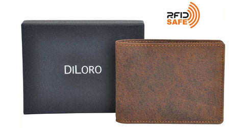 All DiLoro Men's Leather Wallets are equipped with strong RFID Blocking Technology
