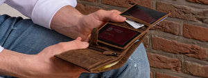 DiLoro Men's Leather Wallet with Double Billfold, Coin Compartment and strong RFID protection. Double Billfold section and lots of room for all your credit cards and ID's