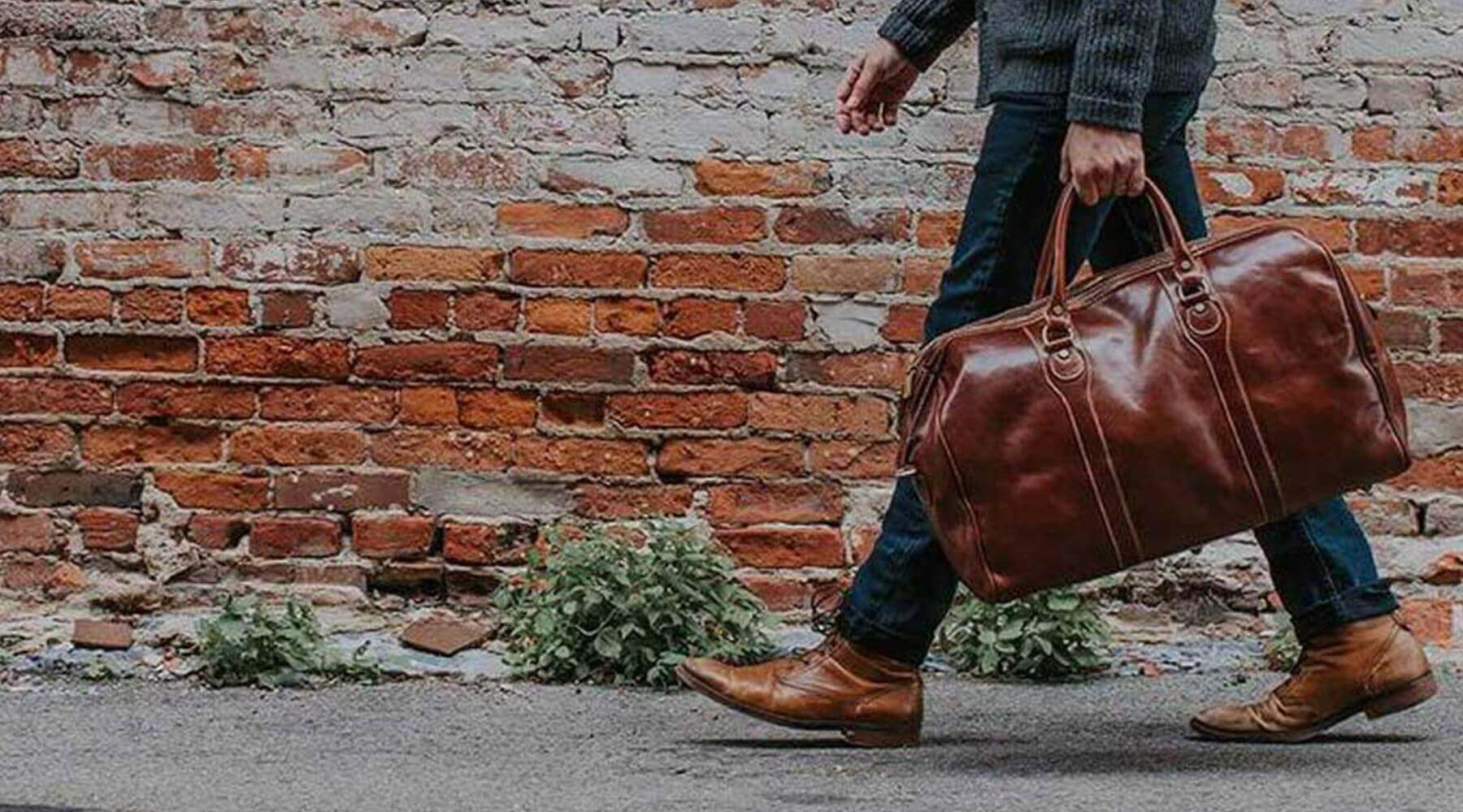 Vegetable tanned Italian leather travel duffle bags by Floto