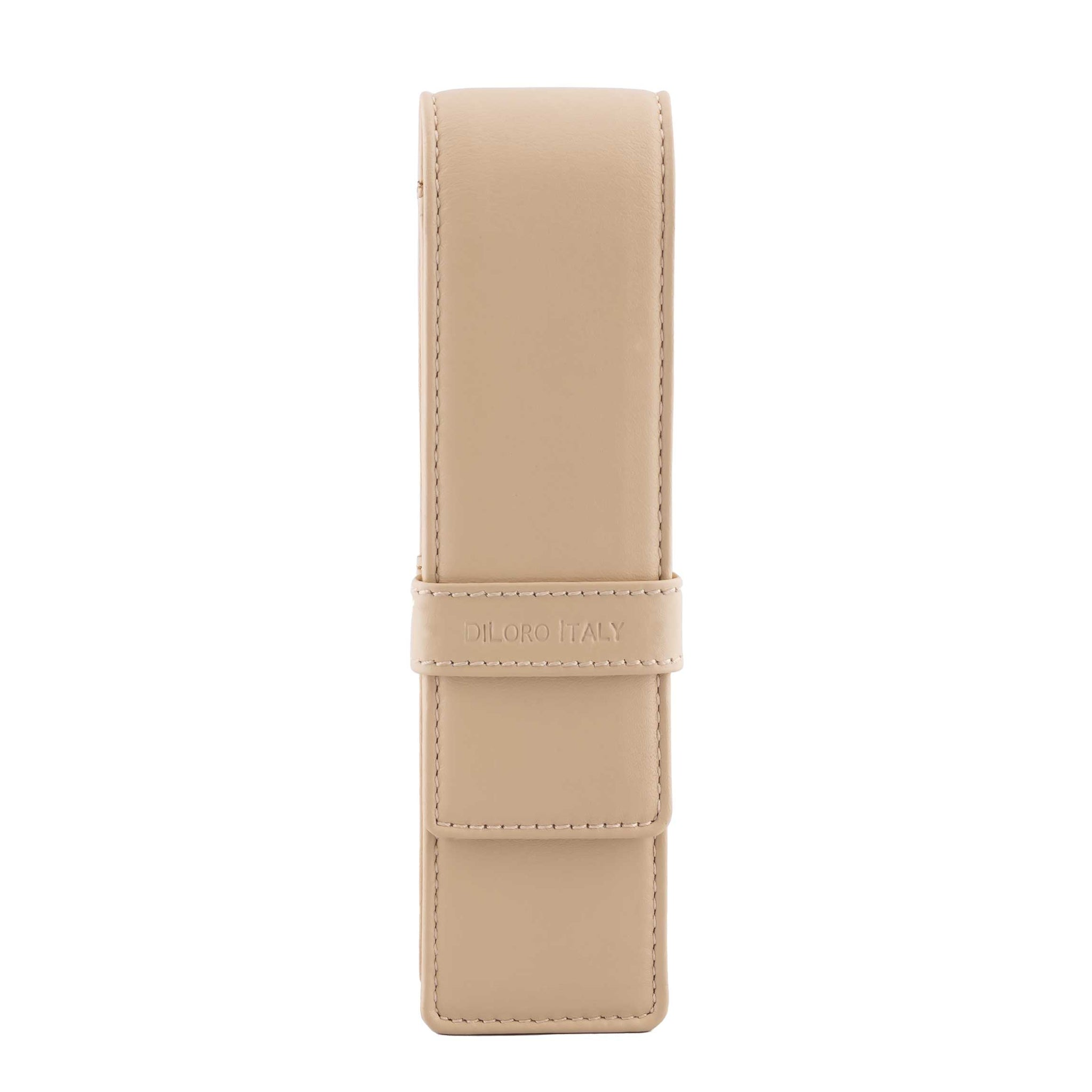 DiLoro Double Pen Case Holder in Top Quality, Full Grain Nappa Leather - Beige (Off White), Front