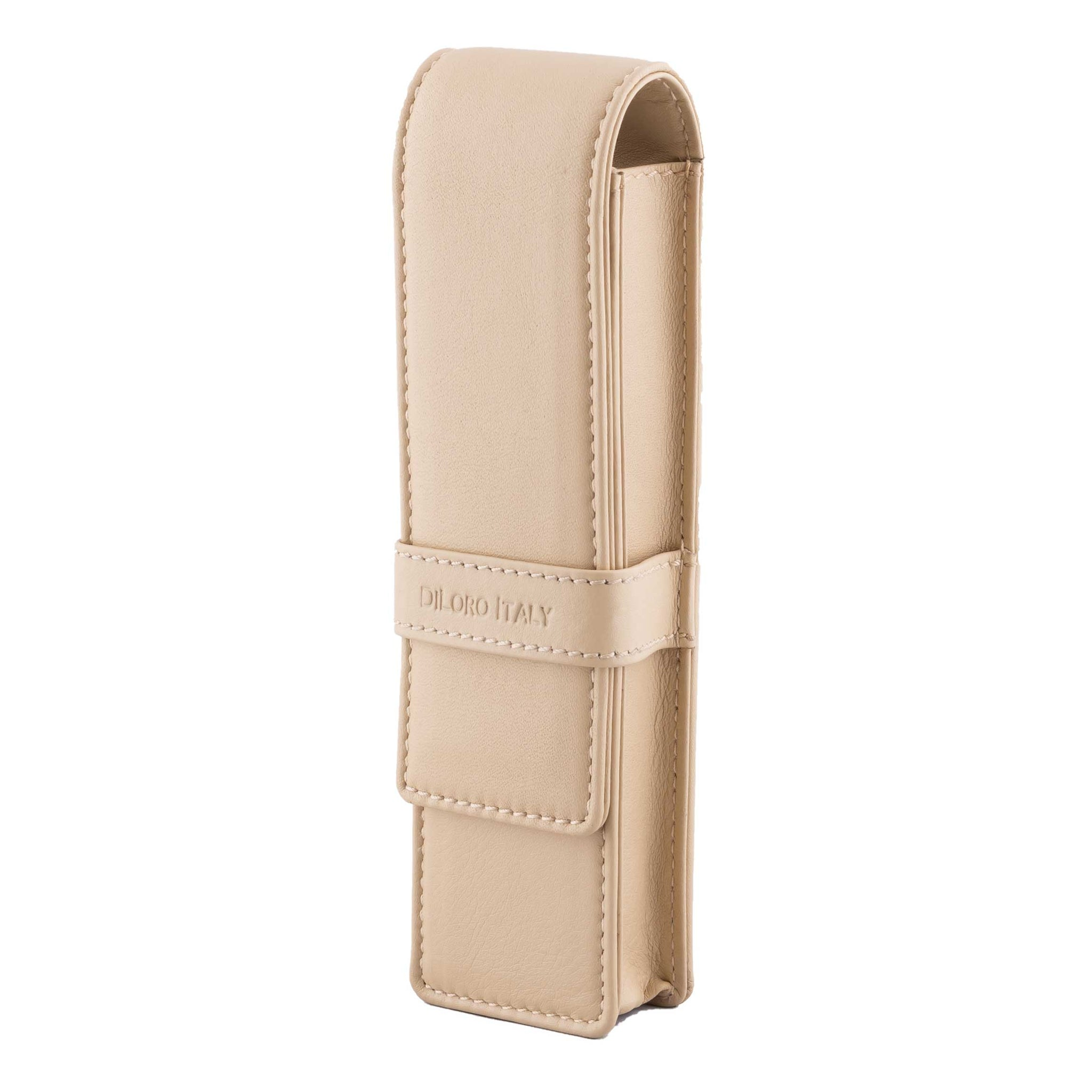 DiLoro Double Pen Case Holder in Top Quality, Full Grain Nappa Leather - Beige (Off White)