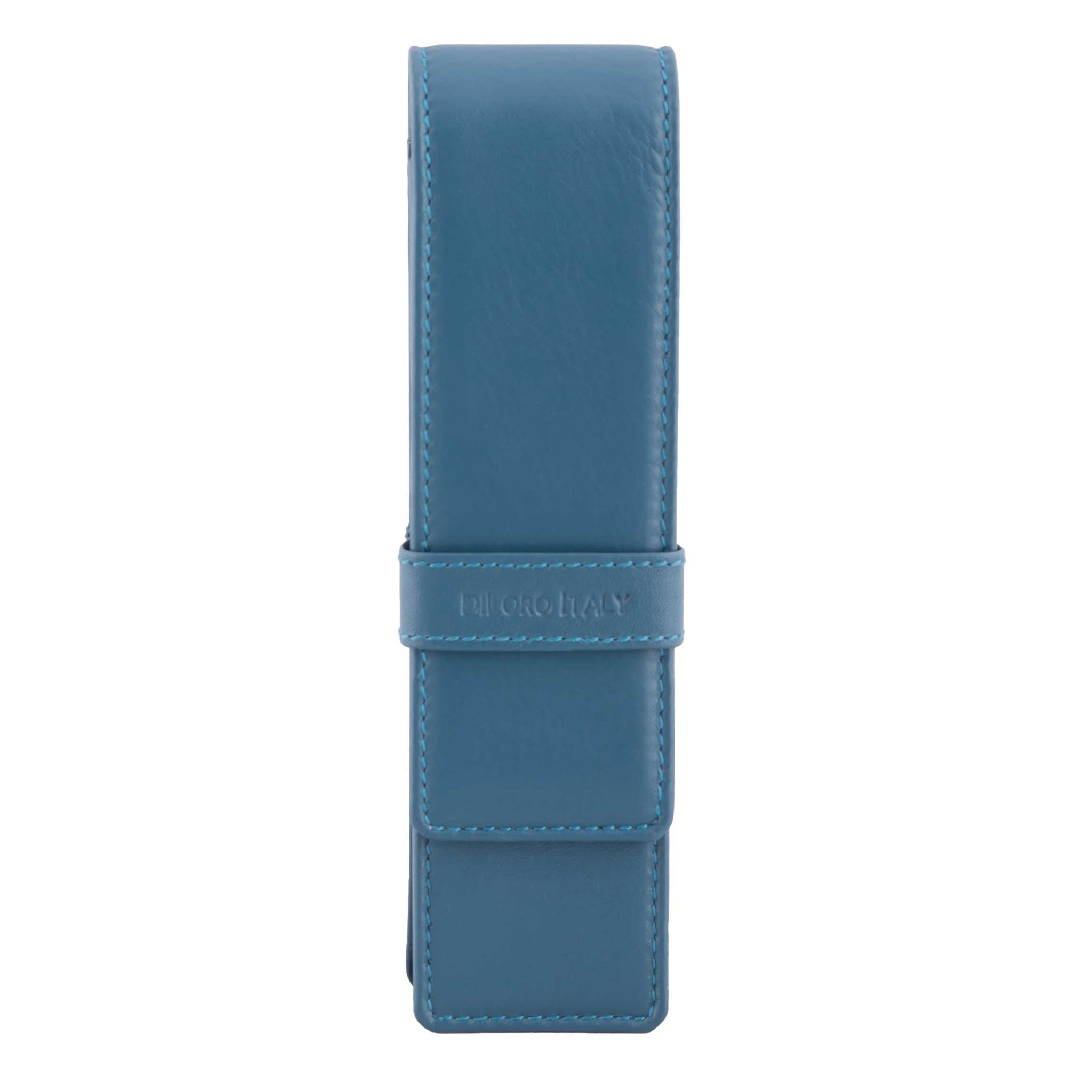 DiLoro Double Pen Case Holder in Top Quality, Full Grain Nappa Leather - Blue (Sololio)