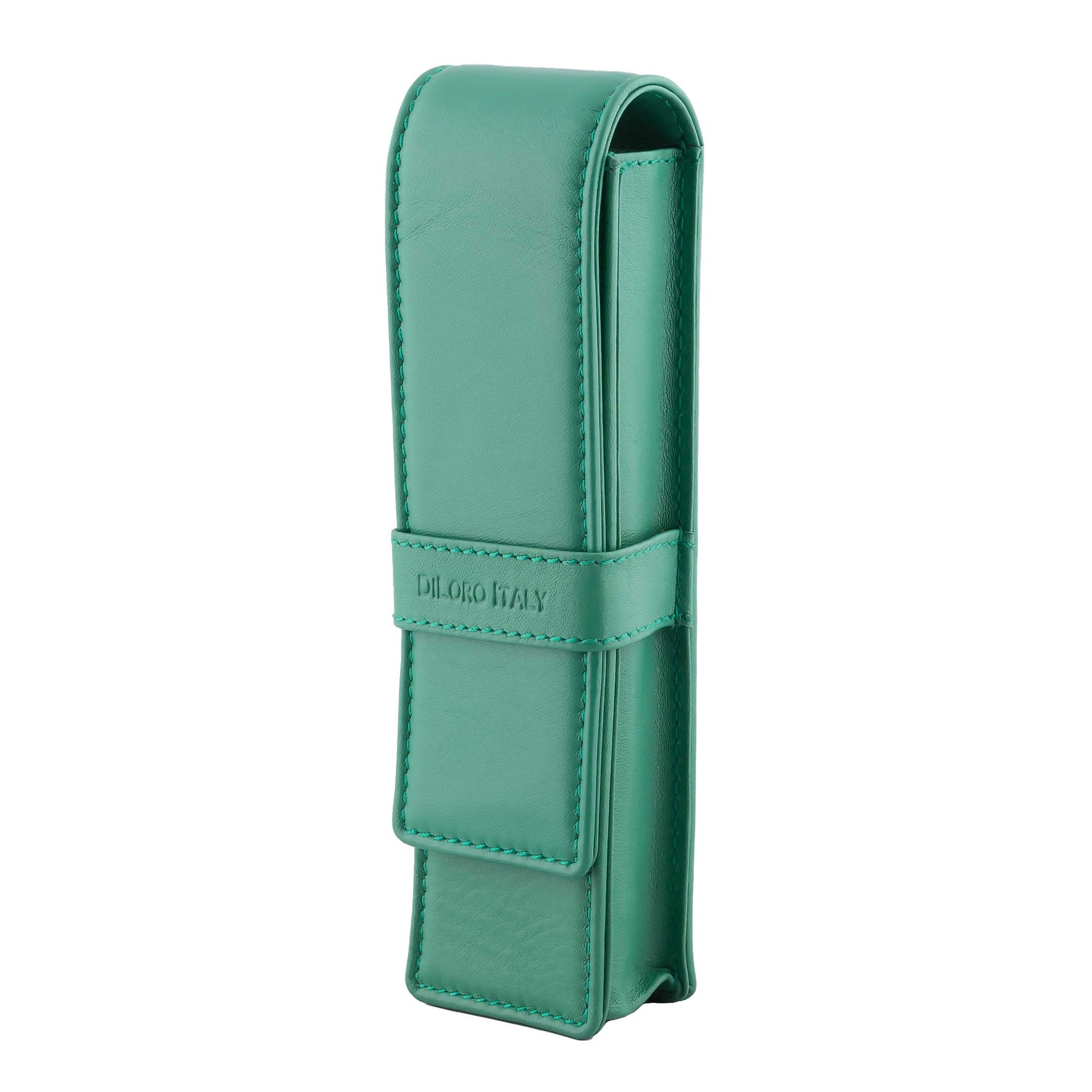 DiLoro Double Pen Case Holder in Top Quality, Full Grain Nappa Leather - Light Green