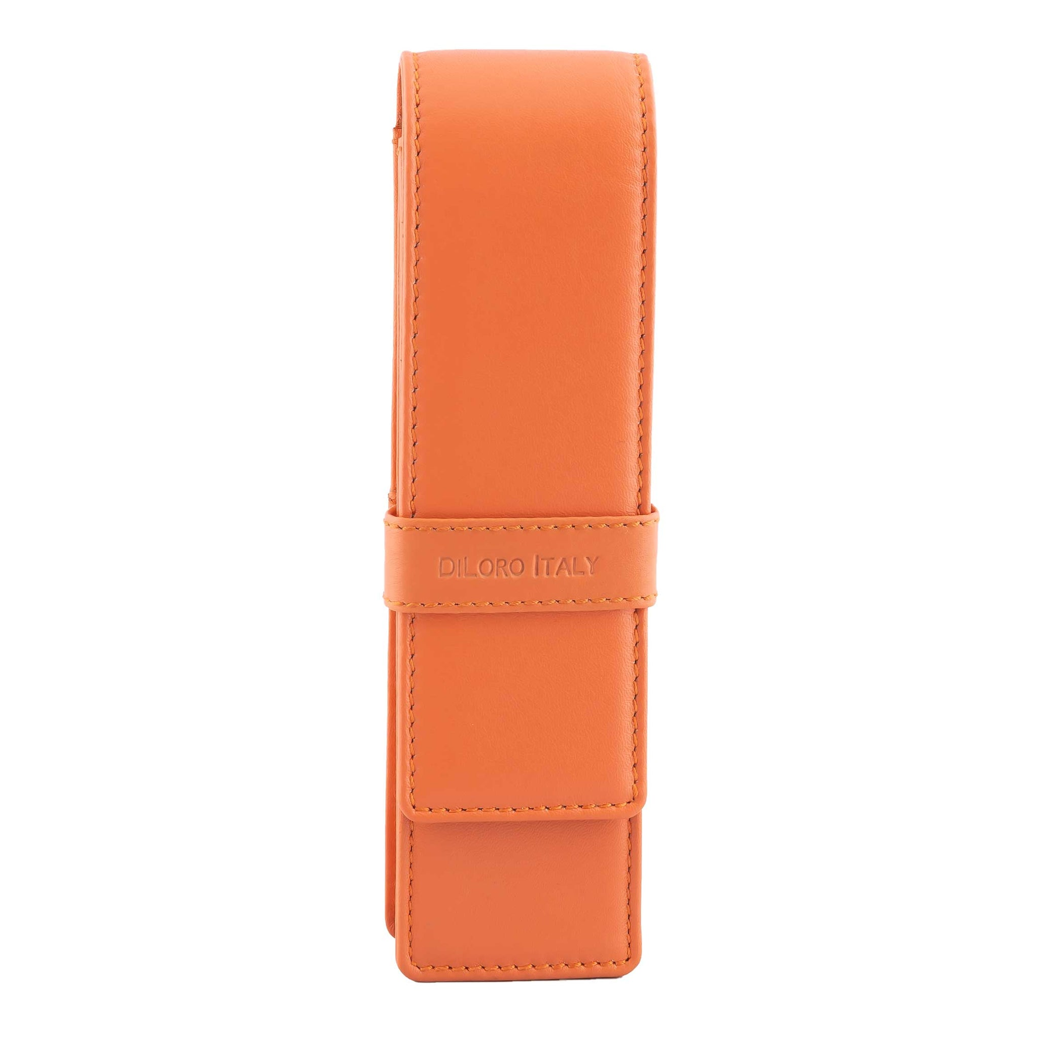 DiLoro Double Pen Case Holder in Top Quality, Full Grain Nappa Leather - Orange, Front